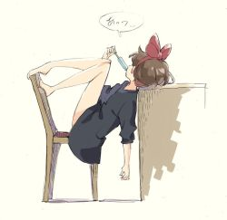 1girl bare_legs barefoot beige_background black_dress bow brown_hair chair desk dress facing_away food hair_bow hairband holding holding_food kiki legs_up majo_no_takkyuubin popman3580 popsicle red_bow red_hairband short_sleeves sketch solo translation_request