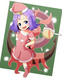 1girl :d acerola_(pokemon) alternate_color alternate_costume anchor armlet bangs blue_eyes blush boots christmas collarbone dhelmise dress elite_four flat_chest full_body fur_trim hair_ornament hands_on_hips hat leg_up looking_away looking_up open_mouth pokemon pokemon_(creature) pokemon_(game) pokemon_sm pom_pom_(clothes) purple_hair red_boots red_dress red_hat santa_boots santa_costume santa_hat seaweed shiny_pokemon short_dress short_hair short_sleeves silane smile standing standing_on_one_leg steering_wheel trial_captain wavy_mouth