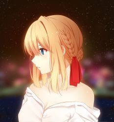 1girl absurdres blonde_hair blue_eyes blurry blurry_background braid braided_bun breasts cleavage collarbone hair_between_eyes hair_ribbon highres medium_breasts medium_hair off_shoulder open_clothes open_mouth open_shirt profile red_ribbon ribbon rko_(a470350510) shirt solo upper_body violet_evergarden violet_evergarden_(character) white_shirt