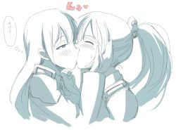 2girls blush hetza_(hellshock) kantai_collection kiss kumano_(kantai_collection) licking long_hair monochrome multiple_girls ponytail smile suzuya_(kantai_collection) translation_request yuri rating:Safe score:5 user:Shadnic