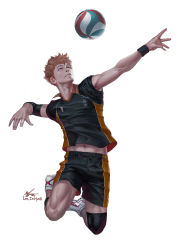10s 1boy armband artist_name full_body groin haikyuu!! hinata_shouyou in-hyuk_lee legband male_focus navel orange_eyes orange_hair realistic shoes signature sneakers solo sportswear toned toned_male veins volleyball volleyball_uniform wristband rating:Safe score:7 user:danbooru