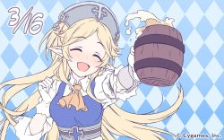 1girl ayase_yukari beer_mug blonde_hair blush collared_shirt cygames earrings elf eyes_closed gloves highres jewelry long_hair official_art open_mouth pointy_ears princess_connect! princess_connect!_re:dive shirt very_long_hair white_gloves