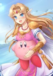 1girl absurdres blonde_hair blue_eyes blue_sky blush breast_rest breasts cape commentary_request dress earrings floating_island highres holding jewelry kirby kirby_(series) long_hair medium_breasts necklace nintendo open_mouth pearl_necklace pointy_ears princess_zelda samoore short_sleeves sky straight_hair super_smash_bros. the_legend_of_zelda the_legend_of_zelda:_a_link_between_worlds tiara triforce tunic vambraces white_dress rating:Safe score:9 user:danbooru