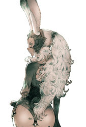 1girl animal_ears ass brown_eyes bunny_ears cowboy_shot dark_skin final_fantasy final_fantasy_xii fran helmet kuroimori long_hair looking_at_viewer ponytail short_sleeves simple_background solo thigh_gap viera white_background white_hair rating:Safe score:9 user:danbooru