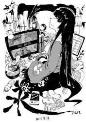 1girl bamboo black_hair blackcat_(pixiv) book bottle branch chips chopsticks computer condom controller dark_souls dated food fujiwara_no_mokou game_console game_controller handheld_game_console health_bar highres hong_meiling houraisan_kaguya jeweled_branch_of_hourai keyboard_(computer) long_hair long_sleeves looking_at_viewer moon mouse_(computer) night night_sky nintendo_switch playstation_4 playstation_controller playstation_portable potato_chips seiza sideways_glance sitting skirt sky socks souls_(from_software) tissue_box touhou used_condom wide_sleeves