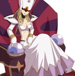 .hack// .hack//games 1girl bandai blonde_hair breasts chair cyber_connect_2 dress female hat helba long_hair midriff pixiv_sample shoulder_pads sitting skirt skyemerald solo white_background