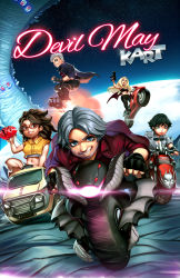 2boys 3girls amano-g black_hair blonde_hair blue_eyes breasts brown_eyes brown_hair chibi cleavage dante_(devil_may_cry) dark_skin devil_may_cry devil_may_cry_5 driving earth fingerless_gloves freckles glasses gloves goggles goggles_around_neck green_eyes grey_hair ground_vehicle gun heterochromia highres jacket lady_(devil_may_cry) long_hair mario_kart motor_vehicle motorcycle multiple_boys multiple_girls navel nero_(devil_may_cry) nico_(devil_may_cry) parody red-framed_eyewear red_eyes red_jacket short_hair space spiked_hair star starry_background submachine_gun trish_(devil_may_cry) van weapon