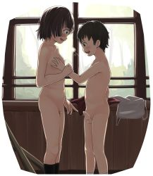 1boy 1girl black_legwear blush breasts clothes_removed highres loli nipples nude open_mouth original penis precum profile pubic_hair rensyu short_hair shota small_breasts standing third-party_edit uncensored upper_teeth white_background window rating:Explicit score:39 user:Domestic_Importer