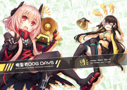 2019 2girls :d aran_sweater bangs bare_shoulders black_footwear black_gloves black_jacket black_jumpsuit black_legwear black_skirt blush boots breasts brown_hair collared_shirt commentary_request copyright_name dinergate_(girls_frontline) eyebrows_visible_through_hair fang fingerless_gloves girls_frontline gloves hair_between_eyes hands_up headgear heterochromia highres jacket lightning_bolt long_hair looking_at_viewer m4_sopmod_ii m4_sopmod_ii_(girls_frontline) medium_breasts megaphone multicolored_hair multiple_girls off_shoulder open_clothes open_jacket open_mouth pink_hair pleated_skirt red_eyes red_hair ro635_(girls_frontline) shirt shoe_soles short_jumpsuit short_sleeves sidelocks skirt sleeveless sleeveless_shirt small_breasts smile streaked_hair sweat sweater sweater_vest tama_yu thigh_boots thighhighs trembling turn_pale v very_long_hair white_hair white_shirt yellow_eyes yellow_jacket