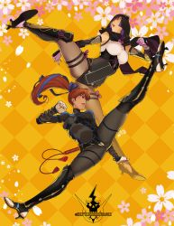 2girls alternate_costume ayane_(doa) bed_sheet black_legwear blue_ribbon bodysuit breasts brown_eyes brown_hair capelet clenched_hand dead_or_alive dead_or_alive_6 full_body greaves hair_ribbon high_heels high_kick highres hood hooded_capelet kasumi_(doa) kicking large_breasts leotard lips long_hair long_legs metalhanzo motion_blur multiple_girls ninja over-kneehighs pantyhose ponytail purple_hair red_eyes ribbon siblings sisters source_request spread_legs thick_thighs thigh_strap thighhighs thighs vambraces watermark web_address