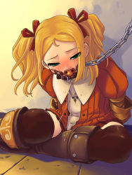 1girl arms_behind_back ball_gag bdsm blonde_hair blush bondage boots bound bracer chains collar gag gagged green_eyes leash legs_bent orange_shirt petite radiata_stories ribbon ridley_timberlake saikyou_anaheim saliva shirt sitting solo tears thighhighs rating:Questionable score:69 user:danbooru