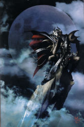 1996 1boy 90s artist_name belt cape chin_rest claws cliff cloud cloudy_sky forehead_jewel highres horns kazuma_kaneko moon official_art persona persona_1 pointy_shoes shoes sitting sky teeth vishnu
