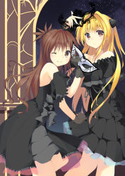 2girls ;) bare_shoulders black_dress black_gloves blonde_hair blush brown_hair cowboy_shot dress gloves hair_bobbles hair_ornament headwear_removed horns konjiki_no_yami long_hair looking_at_viewer multiple_girls murano off-shoulder_dress off_shoulder one_eye_closed smile tiara to_love-ru yuuki_mikan rating:Safe score:9 user:danbooru