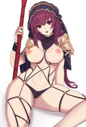 1girl breasts cross-laced_clothes fate/grand_order fate_(series) gg-e highres long_hair looking_at_viewer nipples pauldrons purple_hair red_eyes scathach_(fate/grand_order) solo veil rating:Questionable score:33 user:danbooru