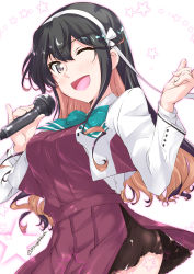 1girl bangs black_hair blouse blue_neckwear blush bow bowtie breasts commentary_request cowboy_shot dress eyebrows_visible_through_hair fang hair_between_eyes hair_ribbon hairband holding holding_microphone kantai_collection large_breasts long_hair long_sleeves looking_at_viewer microphone mikage_takashi multicolored_hair music naganami_(kantai_collection) one_eye_closed open_mouth pink_hair pleated_skirt remodel_(kantai_collection) ribbon simple_background singing skirt solo star starry_background two-tone_hair wavy_hair white_blouse white_hairband rating:Safe score:2 user:danbooru