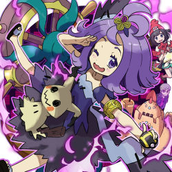 1girl :3 ;) acerola_(pokemon) armlet blush collarbone dhelmise dress elite_four female_protagonist_(pokemon_sm) flipped_hair floating full_body hair_ornament half_updo kingin kuchinashi_(pokemon) mimikyu nintendo npc npc_trainer one_eye_closed open_mouth palossand player_character poke_ball pokemon pokemon_(creature) pokemon_(game) pokemon_sm purple_eyes purple_hair rotom rotom_dex salute short_hair short_sleeves slippers smile stitches topknot torn_clothes trial_captain wavy_mouth