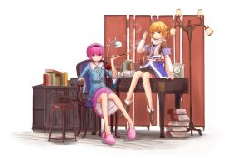 2girls analog_clock ankle_boots bad_id bangs bare_legs black_skirt blonde_hair book boots chair clock desk eyebrows_visible_through_hair female green_eyes indoors kiseru kokotetsu komeiji_satori lamp mizuhashi_parsee multiple_girls on_desk petticoat pink_hair pink_skirt pipe pointy_ears red_eyes scarf short_hair sitting skirt slippers smoke smoking tabako-bon table tagme third_eye tile_floor tiles touhou white_scarf wide_sleeves