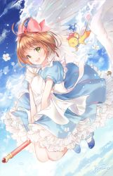 1girl :d antenna_hair apron artist_name bangs blue_dress blue_footwear blue_sky blush bow brown_hair card_captor_sakura cloud creature day dress eyebrows_visible_through_hair feathered_wings flower flying frilled_dress frills full_body fuuin_no_tsue gomzi green_eyes hair_bow hat kero kinomoto_sakura looking_at_viewer mary_janes open_mouth outdoors pink_bow puffy_short_sleeves puffy_sleeves round_teeth shoes short_hair short_sleeves sky smile solo teeth upper_teeth wand white_apron white_legwear wings
