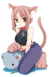 1girl animal_ears brown_eyes brown_hair cat_ears cat_tail collar kubyou_azami leash midriff mouse original smile solo tail rating:Explicit score:6 user:danbooru