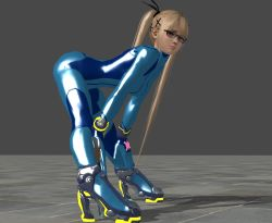 1girl 3d ass blonde_hair dead_or_alive glasses highres lips looking_at_viewer marie_rose samus_aran_(cosplay) simple_background solo twintails zero_suit rating:Safe score:21 user:Juni221