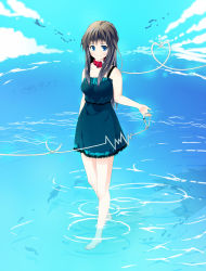 barefoot blue_eyes blue_vert brown_hair collar leash original water choker cloud heart highres rope wading rating:Safe score:0 user:danbooru