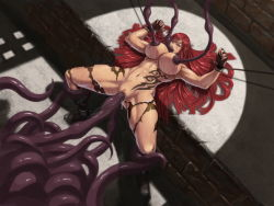 1girl areolae bdsm bondage bound breasts eyes_closed female huge_breasts katarina league_of_legends long_hair lying milking monster nipples nude on_back oral_insertion pussy rape red_hair restrained spread_legs tentacle tentacle_sex tentacles uncensored vaginal_insertion xxoom