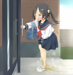 1girl 22m arm_up bag between_legs black_hair blue_sailor_collar blue_skirt blue_sky blush breath character_request crying day door embarrassed female_focus from_side hand_between_legs have_to_pee loli long_sleeves neckerchief open_mouth outdoors peeing peeing_self pink_eyes pleated_skirt puddle red_neckwear sailor_collar school_uniform scrunchie serafuku shirt shoes short_hair side_ponytail skirt sky socks solo standing steam tears tied_hair trembling wet wet_clothes white_footwear white_legwear white_shirt rating:Questionable score:16 user:AngryZapdos