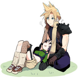 1boy 1girl :d black_hair blonde_hair blue_eyes breasts bright_pupils brown_eyes brown_footwear brown_gloves brown_shorts closed_mouth cloud_strife crop_top eyebrows_visible_through_hair final_fantasy final_fantasy_vii fishnet_legwear fishnets frown garter_straps gloves hands_on_another's_face loose_socks lying on_back open_mouth ribbed_legwear shoes shorts shoulder_pads single_glove single_thighhigh sitting small_breasts smile spiked_hair thighhighs tonmoh turtleneck white_background white_pupils yuffie_kisaragi rating:Safe score:1 user:danbooru