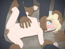 1girl 5boys age_difference animated animated_gif assisted_rape blonde_hair blue_eyes censored dark_skin dark_skinned_male flat_chest interracial large_penis loli mbby multiple_boys multiple_penises penis rape scared short_hair wide-eyed rating:Explicit score:45 user:Kyuso