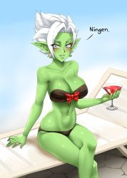 1girl bare_shoulders bikini black_bikini bow breasts collarbone commentary cup cupping_glass dragon_ball dragon_ball_super drinking_glass earrings eyebrows_visible_through_hair eyes_visible_through_hair genderswap genderswap_(mtf) gokuu_black green_skin hair_intakes jewelry large_breasts legs_crossed looking_at_viewer navel pointy_ears potara_earrings red_bow ring romaji_text short_hair silver_eyes sitting smile solo spiked_hair swimsuit twrlare white_hair zamasu rating:Safe score:15 user:danbooru