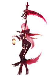 1girl black_dress breasts bridal_gauntlets capelet cleavage dress fingernails full_body hair_between_eyes high_heels highres huge_weapon lace-up lantern large_breasts long_dress long_hair nail_polish original pink_hair q9q red_eyes scythe sharp_fingernails solo standing stiletto_heels weapon rating:Safe score:6 user:danbooru