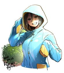 1girl agawa_ryou blue_coat blush brown_eyes brown_hair bush commentary cowboy_shot dated english_commentary grin hood hood_up hooded_coat looking_at_viewer nose_blush original raincoat short_hair sleeves_past_wrists smile solo wet wet_clothes rating:Safe score:4 user:danbooru