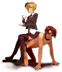 1boy 1girl all_fours bdsm beatrice blonde_hair bondage boots bound chains clothed_female_nude_male collar cup drinking femdom footwear human_chair human_furniture leash legs_crossed necktie nude red_hair riding sitting sitting_on_person skirt slave socks sora_(efr) striped striped_legwear tea teacup thighhighs umineko_no_naku_koro_ni ushiromiya_battler zettai_ryouiki rating:Questionable score:24 user:danbooru