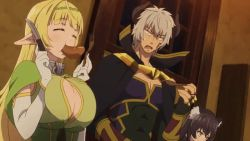 10s 1boy 2girls animal_ears animated animated_gif black_hair blonde_hair breast_squeeze breasts cleavage cleavage_cutout collar diablo_(isekai_maou_to_shoukan_shoujo_dorei_majutsu) eating elf eyes_closed food food_in_mouth fork gloves grey_hair holding horns huge_breasts isekai_maou_to_shoukan_shoujo_dorei_majutsu knife long_hair looking_at_breasts metal_collar multiple_girls open_mouth pointy_ears rem_galleu sausage sexually_suggestive shera_l_greenwood short_hair standing rating:Safe score:15 user:edward91