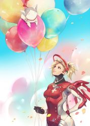 1girl balloon black_gloves blonde_hair blue_eyes bodysuit breasts chibi commentary_request eidgenossin_mercy genji_(overwatch) gloves hage2013 hand_on_hip high_ponytail holding holding_balloon looking_at_another mechanical_halo mechanical_wings medium_breasts mercy_(overwatch) nose overwatch petals ponytail red_bodysuit smile wings