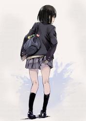 1girl bag black_hair black_legwear from_behind looking_back pigeon-toed pleated_skirt saitou_masatsugu school_uniform scratching serafuku short_hair skirt sweater rating:Safe score:14 user:dreamoreo