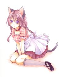 1girl animal_ears cat_ears cat_tail collar duplicate leash marker_(medium) original purple_eyes solo tail traditional_media usashiro_mani waitress rating:Safe score:2 user:danbooru