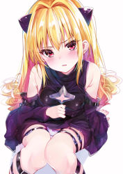 1girl arm_support bare_legs bare_shoulders black_dress blonde_hair blush bow bow_panties breasts cleavage_cutout commentary_request detached_sleeves dress embarrassed hair_ornament highres knees_together_feet_apart knees_up konjiki_no_yami leather leg_strap long_hair panties pantyshot pantyshot_(sitting) parted_lips red_eyes rouka_(akatyann) simple_background sitting small_breasts solo to_love-ru underwear upskirt very_long_hair white_background white_panties