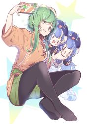 3girls belt black_legwear blue_hair blue_headwear carrot character_name cheek_pinching chibi commentary eel eel_hat eighth_note facial_tattoo full_body green_eyes green_hair gumi hat highres holding holding_phone knees_apart_feet_together leaning_forward long_hair looking_to_the_side multiple_girls musical_note orange_shirt otomachi_una pantyhose phone pinching shirt short_hair_with_long_locks shorts sidelocks sitting smile star t-shirt taking_picture tattoo v vocaloid wanaxtuco  _ 