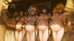 1boy 4girls animal_ears areolae bdsm beard black_hair blake_belladonna blonde_hair blue_eyes blush bondage breasts cat_ears chains collar crying cuffs dark_skin drugs kuon_(kwonchanji) large_breasts long_hair mask medium_breasts multiple_girls nipples nude open_mouth outdoors pregnant purple_eyes pussy red_hair ruby_rose rwby saliva scar shackles short_hair silver_eyes sisters slave slave_auction syringe uncensored weiss_schnee white_hair women_livestock yang_xiao_long yellow_eyes rating:Explicit score:116 user:MasamuneZERO