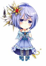 1girl ahoge blue_eyes blue_hair blush bow breasts chibi cleavage flower_knight_girl frills frown gem highres ipheion_(flower_knight_girl) looking_at_viewer medium_breasts purple_eyes shironeko_haru short_hair solo