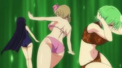 10s 3girls animated animated_gif ass back black_hair bloomers breasts brown_hair denim eyepatch green_eyes green_hair haruka_(senran_kagura) hikage_(senran_kagura) jeans large_breasts loli long_hair mirai_(senran_kagura) multiple_girls panties pants red_eyes senran_kagura smile standing tattoo thighhighs thong tongue underboob underwear yellow_eyes rating:Questionable score:17 user:lkuroi