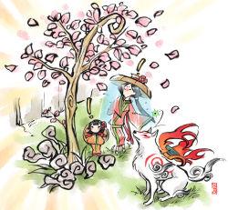 ! 2girls amaterasu black_hair calligraphy_brush_(medium) cherry_blossoms child flower goddess hat issun japanese_clothes kimono long_hair mixed_media multiple_girls ookami_(game) petals ponytail satsuki_yuu_(awairo) sazanka_(ookami) short_hair signature traditional_media tree tsubaki_(ookami) veil wolf