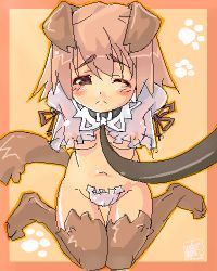 1girl amasa_mitsunaru animal_ears bdsm blush bondage bound bound_arms breasts collar dog_ears erect_nipples kneeling leash lowres oekaki one_eye_closed paw_print see-through short_hair small_breasts solo thighhighs wink rating:Questionable score:0 user:danbooru