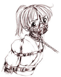 1girl bdsm belt blush bondage bound chains collar gag gagged gimpgear gimpmask leash monochrome muzzle_gag pizza_man pizza_man\r\nscared solo spoils sweat tears rating:Questionable score:60 user:danbooru
