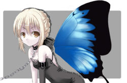 00s 1girl arm_strap bare_shoulders black_dress bow buckle butterfly_wings chains collar collarbone dress fate/stay_night fate_(series) gloves grey_background leaning_forward leash looking_at_viewer navel parted_lips saber saber_alter sidelocks single_sleeve solo two-tone_background white_background wings yellow_eyes rating:Safe score:6 user:danbooru