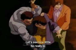 3boys 90s animated animated_gif brown_hair english genocyber lowres male_focus multiple_boys penis shota subtitled yaoi