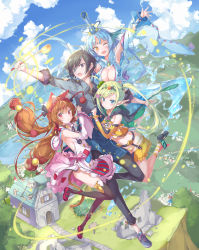 1boy 3girls :o animal_ears apron arm_up bangs black_eyes black_footwear black_hair black_legwear black_pants black_ribbon blue_apron blue_dress blue_eyes blue_footwear blue_gloves blue_hair blue_sky blush bow braid breasts brown_hair building cat_ears cat_tail cleavage clothes_grab cloud cloudy_sky collared_shirt cross-laced_footwear day detached_sleeves dress droplet elf fingerless_gloves flying foreshortening frilled_sleeves frills girl_sandwich gloves green_hair grey_shirt hair_bow hair_ribbon highres holding holding_ladle ladle large_breasts light_particles long_hair long_sleeves looking_at_viewer low-tied_long_hair low_twintails mary_janes multiple_girls one_eye_closed open_mouth original outdoors pants pink_dress pointy_ears pulp_piroshi red_eyes red_footwear ribbon sandwiched shirt shoes short_dress shorts sky sleeveless sleeveless_shirt sleeves_rolled_up smile sneakers socks striped striped_bikini_bottom striped_legwear tail thighhighs tree twintails water wide_sleeves yellow_bikini_bottom yellow_eyes yellow_legwear yellow_shirt yellow_shorts yellow_sleeves