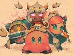 1girl 3boys artist_name bellhenge extra_eyes fangs heart horns kirby kirby:_star_allies kirby_(series) magolor multiple_boys nintendo no_mouth one_eye_closed open_mouth pink_hair scarf smile susie_(kirby) taranza white_hair