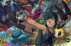 >:) +_+ 1boy :> antennae araquanid backpack bag bangs bare_arms bare_shoulders baseball_cap beetle black_hair black_hat black_shirt brown_eyes brown_scarf buzzwole caterpie caterpillar clenched_hand closed_mouth cockroach fingernails flexing flying full_moon golisopod hand_on_hip hat highres holding holding_poke_ball insect insect_wings isopod male_protagonist_(pokemon_sm) mandibles minato_niku_(cr666) moon muscle net_ball on_shoulder open_mouth parted_bangs pheromosa poke_ball pokemon pokemon_(creature) pokemon_(game) pokemon_sm pose ribombee scarf shirt short_hair sitting smile spider standing tank_top ultra_beast vikavolt water wings